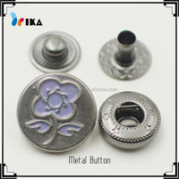 custom logo metal spring snap buttons for jeans