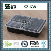 top grade square 3compartment disposable plastic food container with clear lid,leak proof, microwave safe ,FDA,LFGB,factory sale