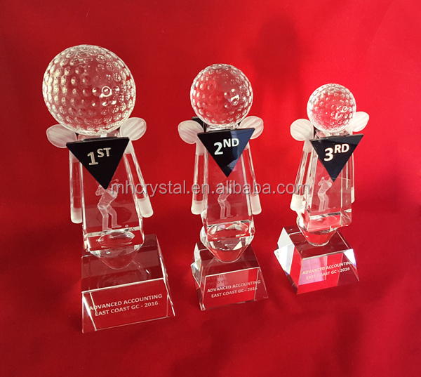 golf tournament crystal trophy MH-J0938
