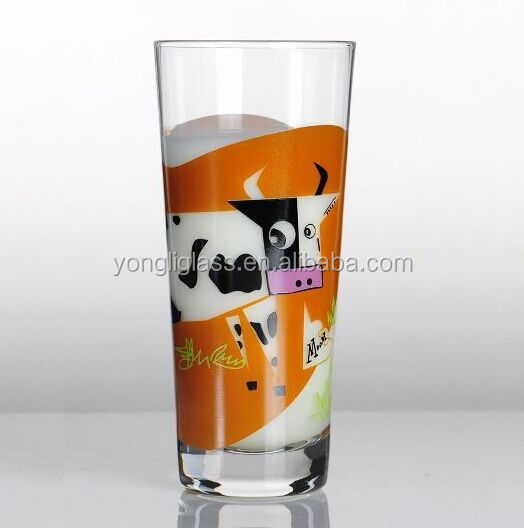 High quality custom print 400ml highball drinking glass cup for milk,lovely souvenir glass with custom logo