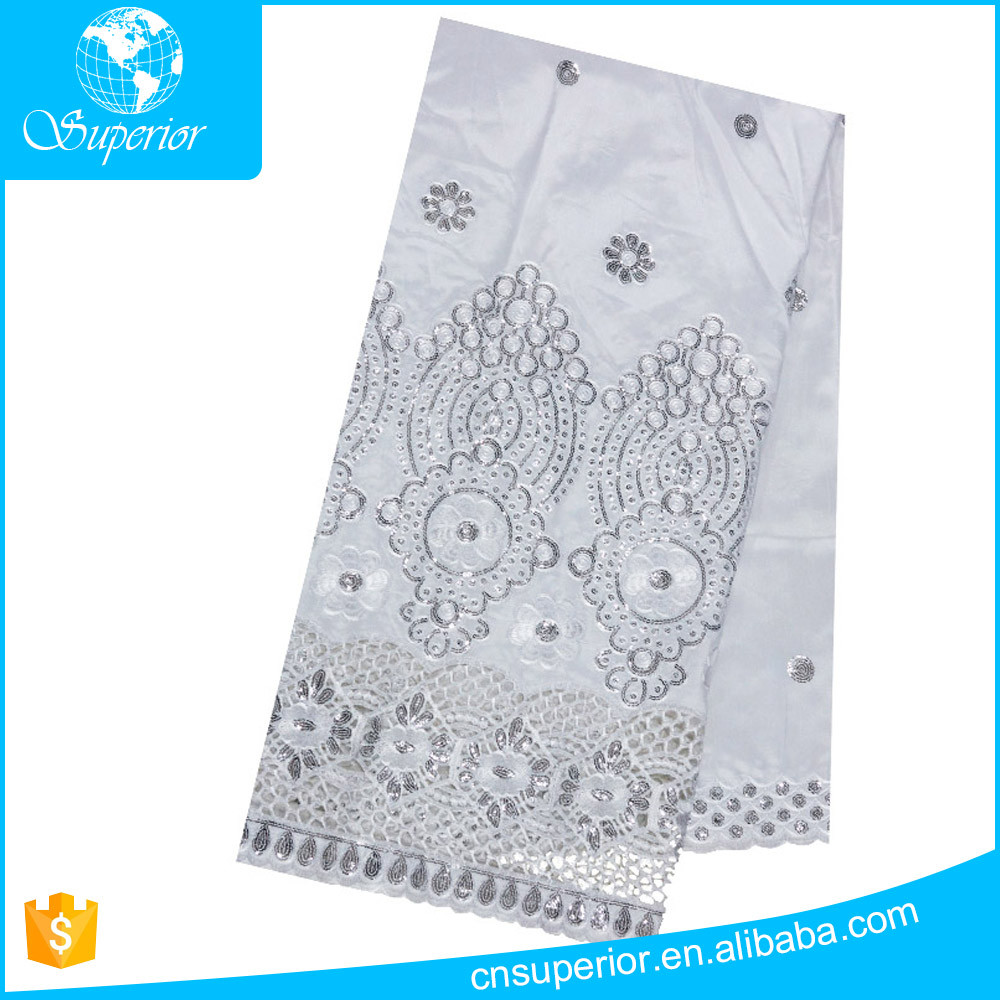 2016 fabric with cutwork embroidery slub fabrics Sequins customized wholesale 100% Polyester fabric woven white or much color
