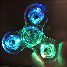 LED crystal Light Fidget Spinner Transparent Hand Spinner Plastic Custom Toys