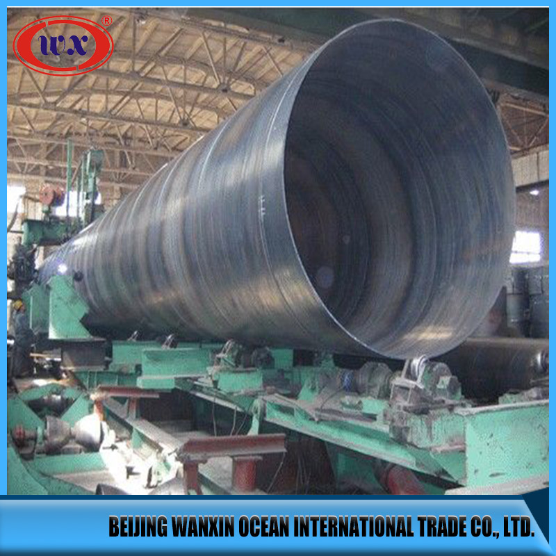 Electrowelded steel pipes production line with spiral seam