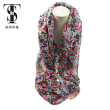 Popular lady long crinkle Fashion voile crinkle print cheap scarf fashion hijab