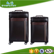 new design style vintage patent pu leather trolley luggage for men