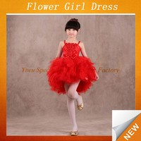Cheap little girl birthday dress red straped stylish boutique pageant dresses girls CDT-025