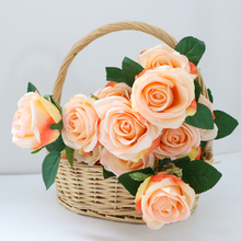 FlowerKing flowers artificial mini roses natural touch decorative 18 heads artificial wedding fabric rose flower