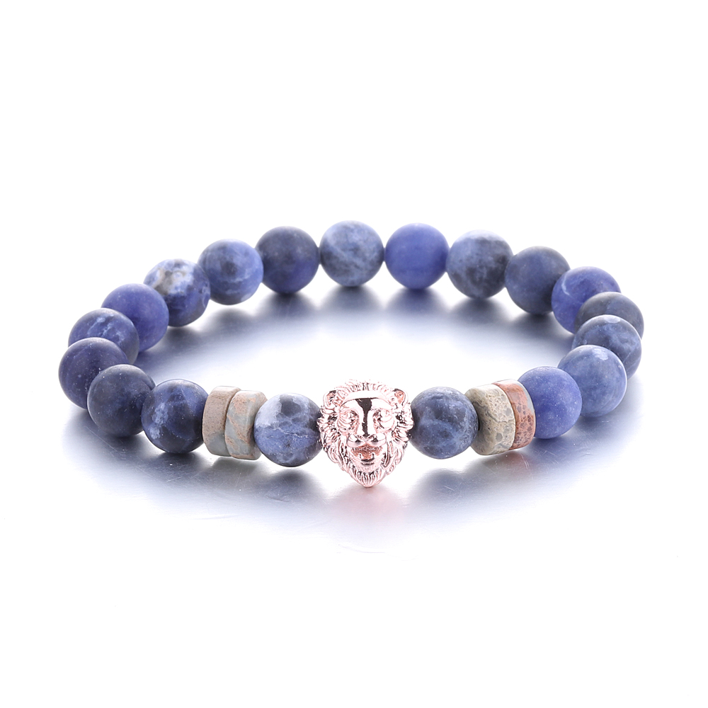 Latest Design Gemstone Marble Bead 8MM Copper Black Gold Lion Head Charm Mens Natural Blue Stone Bracelet