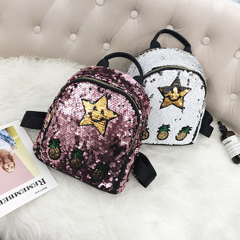 Pineapple Stars Sequin Children Student Zipper Fashion Backpack For Girl
