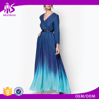 Elegant Lady Blue Color Combination Chiffon Fabric Long Sleeve Pleated Dress