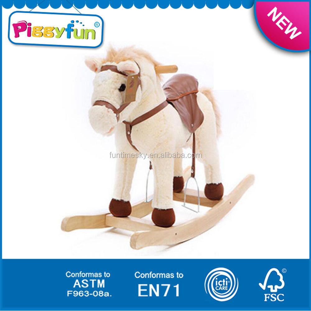 2016 Bouncing Wooden Children Rocking Horse Width Handles For Kids AT11966