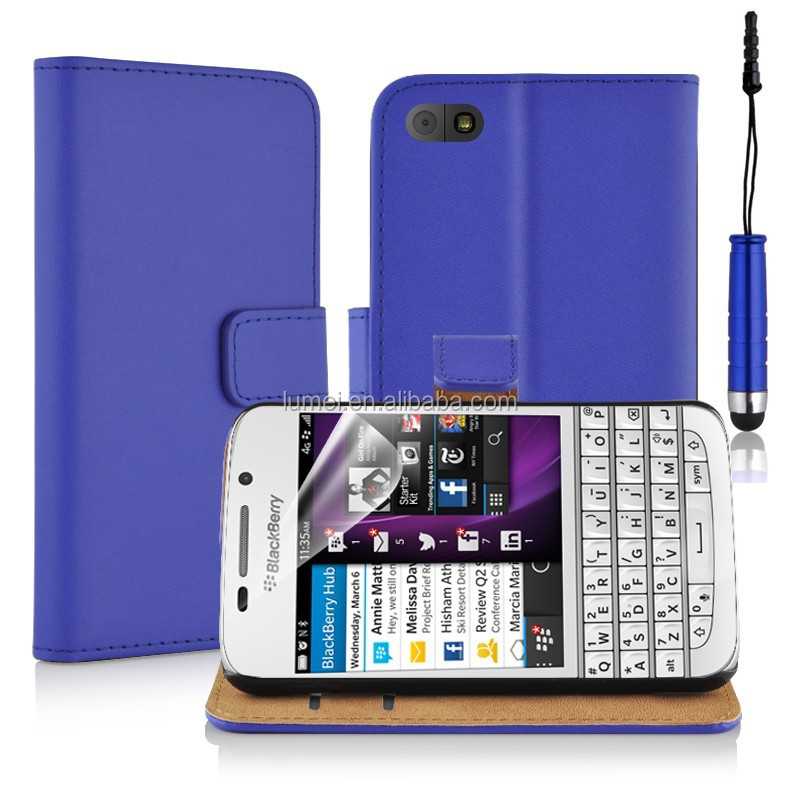 Slim Genuine Real Leather pocket Card Slots <strong>Phone</strong> Case Cover For Blackberry <strong>Q10</strong>