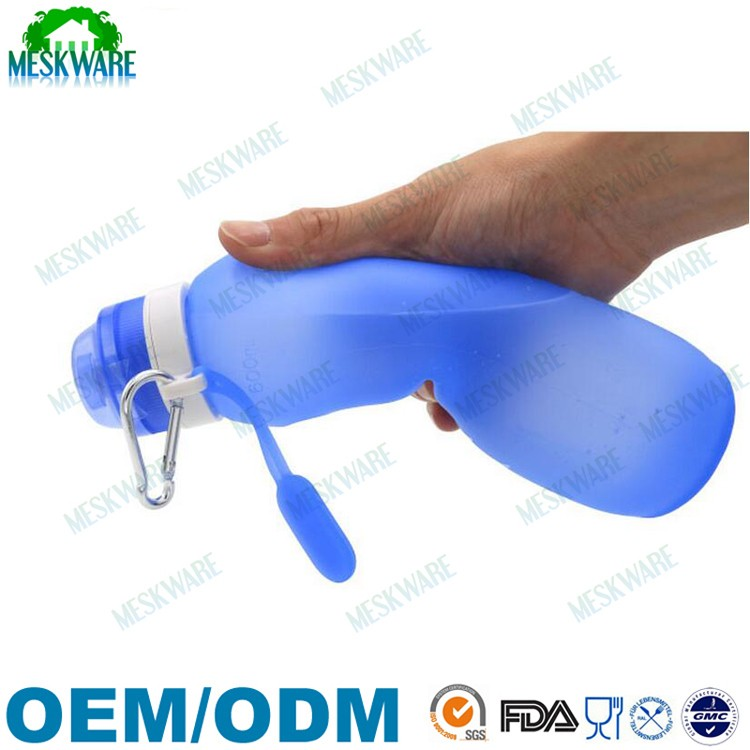 Non-toxic food grade collapsible silicone foldable water bottle, silicone sports water bottle