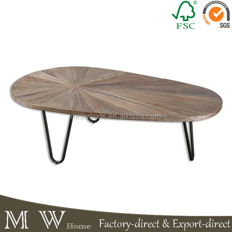 MW home new design coffee table modern with oval elm wood top and hair pin iron legs