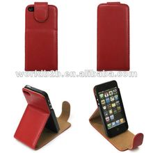 Magnet leather flip case for iphone 5 with stand,inside with plastic case