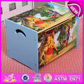 Wooden cartoon toy storage box for kids,Decorative children wooden toy storage box OEM available W08C130