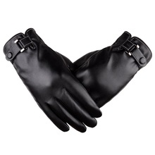 2017 YIWU Hot Sale Touch Screen PU Plus Leather Gloves Fashionl Classic Mens Leather Car Driving Gloves Men's Leather Gloves