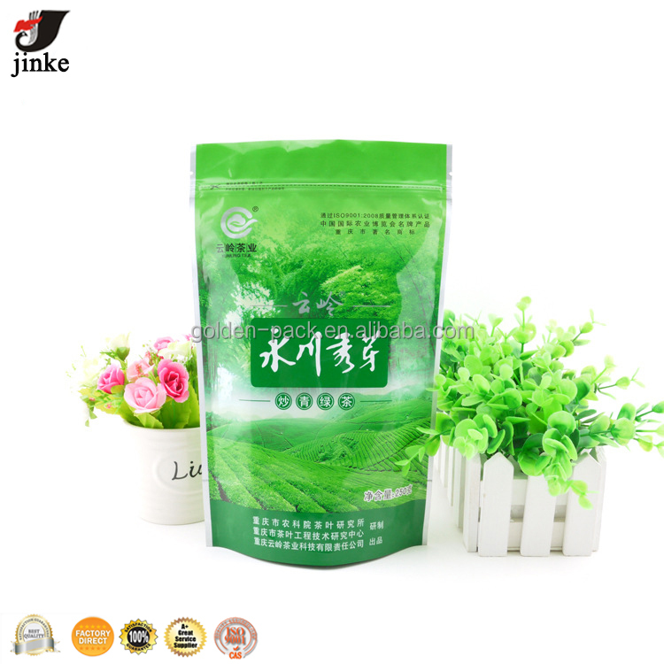 Chinese green tea zipper packaging bag/plastic food bag packaging design manufacturer