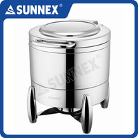 SUNNEX Mirror Polished Stainless Steel Hydraulic Hinged 10Litre Soup Station / soup warmer / soup kettle