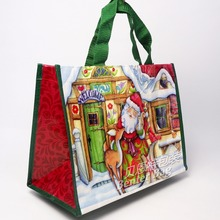 Merry christmas pp laminated gift bag non woven glossy shopping bag eco friendly tote bag for festival