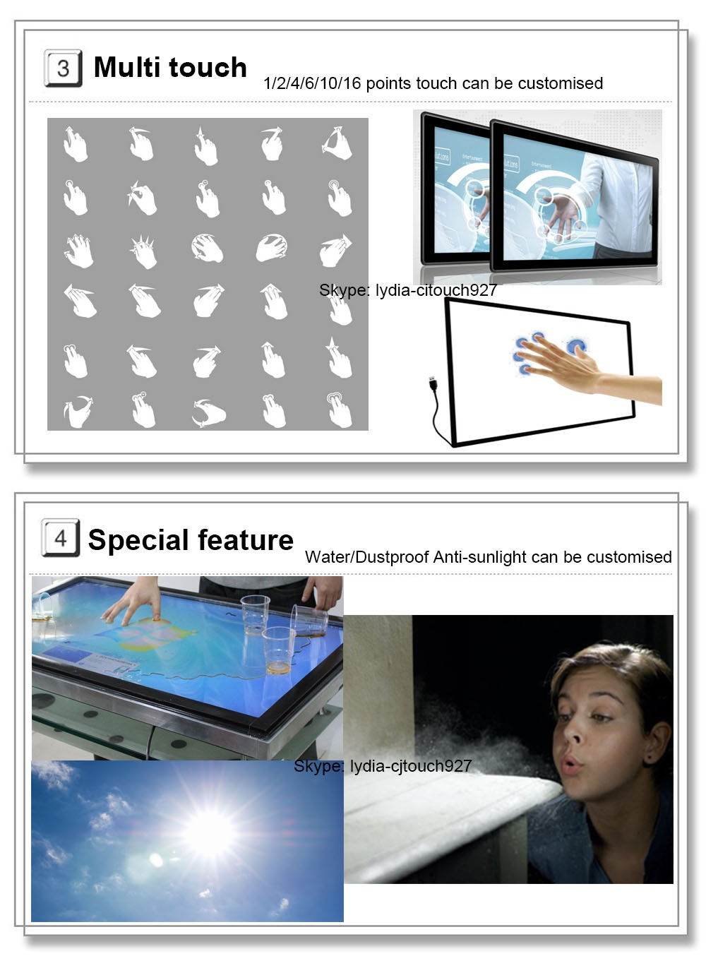 "65"" Infrared touchscreen multi touch overlay kit with dual touch"