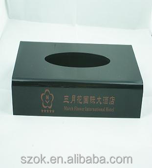 top grade black acrylic rectangle napkin boxes for hotel cheapest