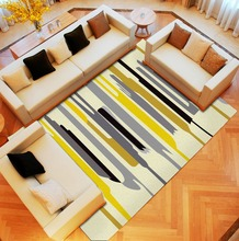 home rugs and carpets factory wholesale geometry yellow stripe decorative custom carpet tile for living room