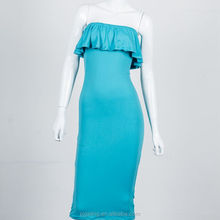 woman cloths,blue full saxy image sleeveless women party dress