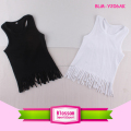New Arrival Girl Tank Top Tassel Fringe Trim T Shirts Solid Colorbaby Tassel Fringe Top