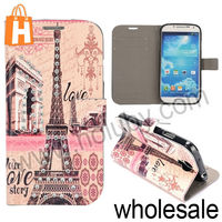Famous Eiffel Tower Case for Samsung Galaxy S4 i9500, Wallet Flip Leather Diamond Case for Samsung Galaxy S4 i9500