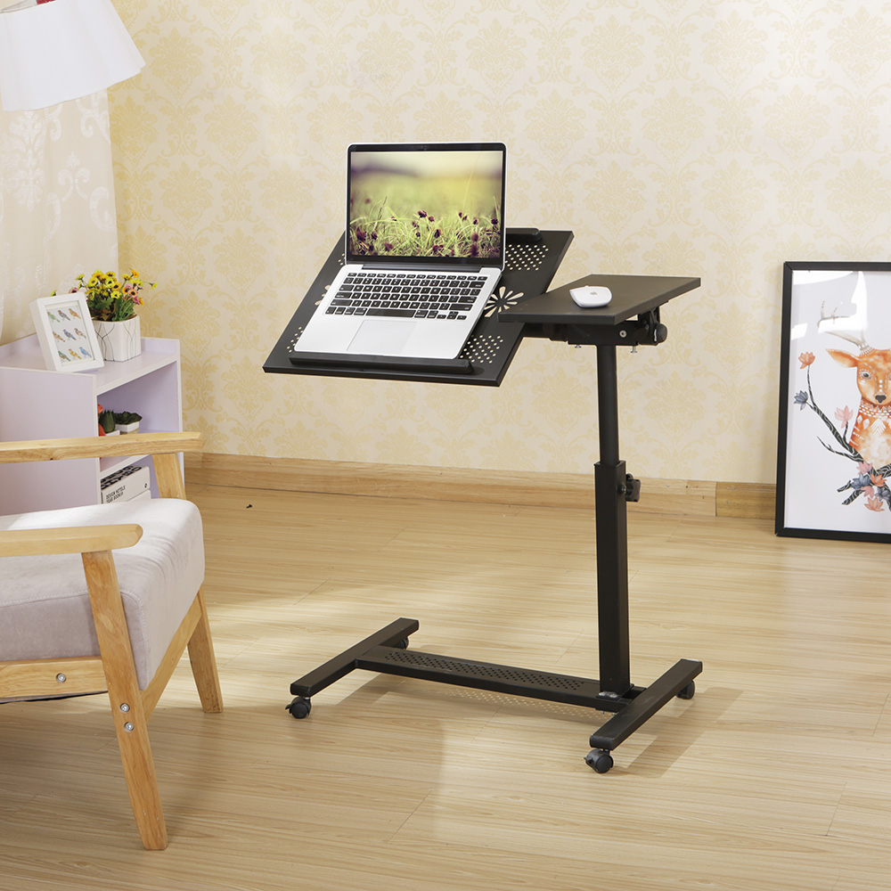 height adjustable bedside table with wheels