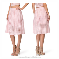 2015 china manufacturer customized latest eyelet skirt design pictures
