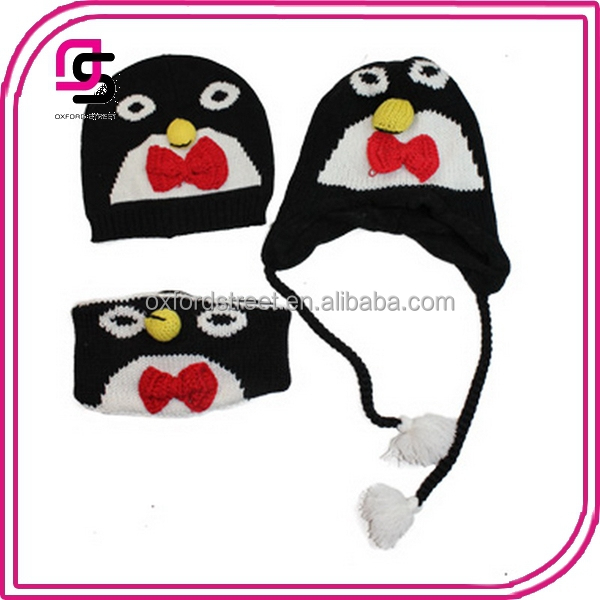 3 style cute penguin acrylic Winter Knit Hats for boys