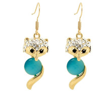 Lovely Latest Fashion Rhinestone Blue Cat's Eye Glass Fox Animal Earrings