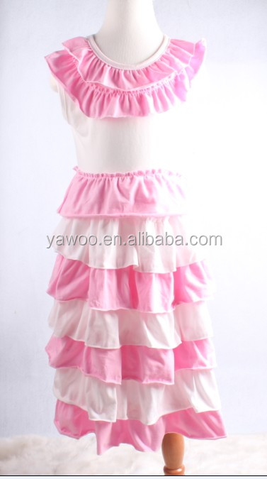 top quality ruffle dress knit cotton children dress wholsale pink white sleeveless dresses fast delivery boutique china supplier