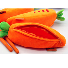 Promotional gift Soft Carrot Shaped Plush School Pencil/Pen bag Wholesale