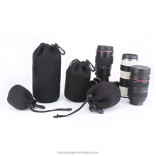 Customized 4pcs Portable Neoprene Lens Pouch for DSLR Camera