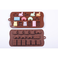 Manufacturers silicone ice lattice mold 15 car Trojan horses bear shaped chocolate mold with low price