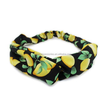 Fashion Twist Printing Headbands with Fruit Printing for Summer