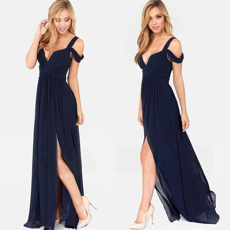 Deep V Open Lady Long Evening Dress