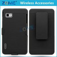 Pc +Tpu Line Matte Plastic Holster Combo Dual Layer Hybrid Cover Phone Case With Stand For Lg Optimus F3 Ls720 Cdma