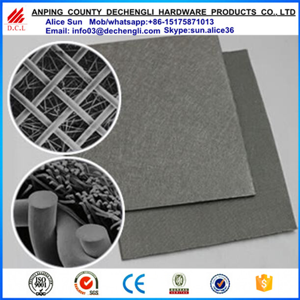 Sintered metal fiber felt with one single layer wire mesh