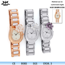 synthetic diamond flower studded bright jeweled dial watch