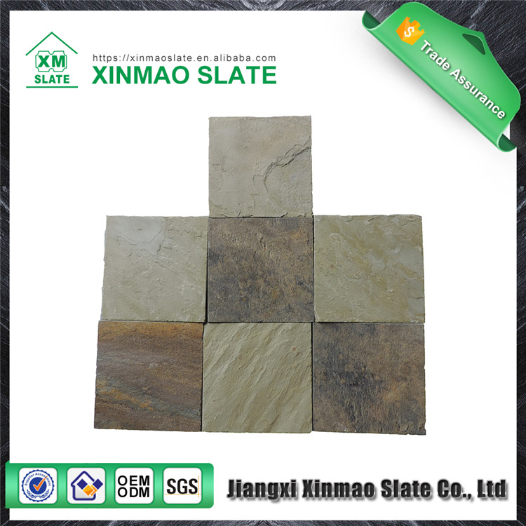 Factory floor mounted slate pieces for decoration