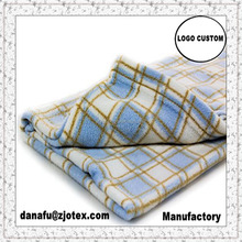 AOFU china Super Soft Baby Fleece security Blanket 30 x 36 Blue, White & Brown Plaid Design 100% Polyester, Machine Washable