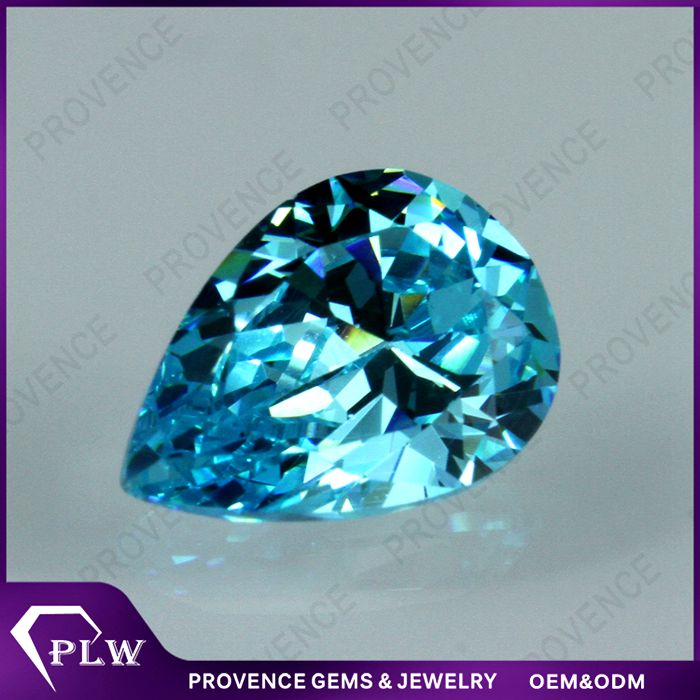 Artificial AAA Cubic Zirconia Pear Shape Aquamarine CZ Stones for Jewelry