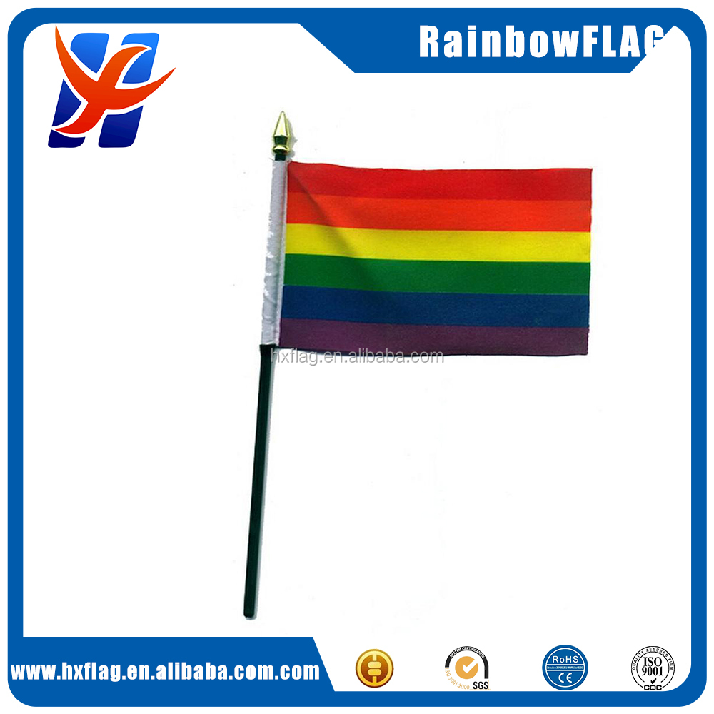 "Rainbow hand waving flag Small 6"" x 4"" with black pole GAY PRIDE flag"
