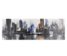 Abstract handpainted oil painting city A 150x50cm