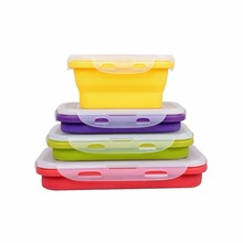 Sufair FDA BPA free Food Storage 4 packing set kitchen silicone folding lunch box