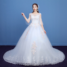 Latest Design Sheer Guipure Lace Pregnant Wedding Dress With Long Train